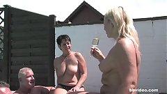 German MILF fucks outdoors