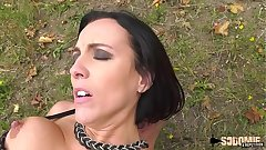 Lactating brunette milf ass-fucked outdoor