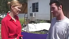 Blonde milf fucked by a young slacker