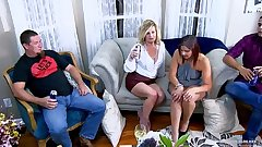 Hot MILFs licking and fucking in amateur swinger party