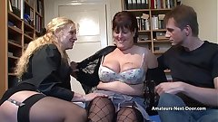 Big boobed mature pleasured by man and woman