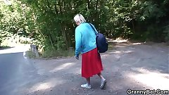 He picks up and bangs 80 years old granny outside