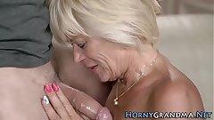 Hot granny rides cock