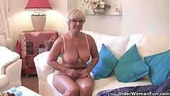 Chubby grandma everywhere big old tits fucks a vibrator
