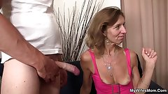 She is riding son in operate cock