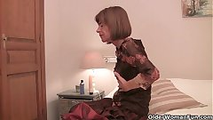Most assuredly skinny granny stretching her tight pussy with a dildo