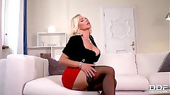 Dildo sucking and screwing solo nigh blonde Hungarian milf Tiffany Rousso