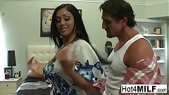 Big tit Indian MILF gets a big load on the brush ass