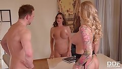 Busty milf Kayla Green & hot lawyer Cathy Heaven in XXX rendezvous threesome