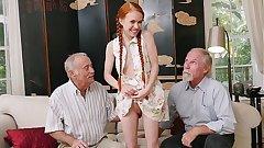 BLUE PILL MEN - Old Men Meet Petite Redhead Teen Dolly Little IRL After Chatting Online