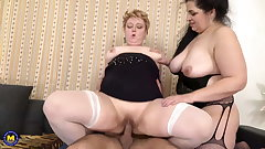 Taboo sex nearly two BBW mature moms