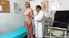 Strange gynecologist Tim Wetman examines old vaginas