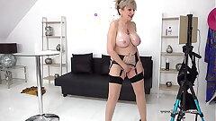 Daughter Sonia oils up her bosom now masturbates
