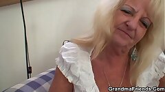 Boozed old grandmother rides with an increment of sucks cock