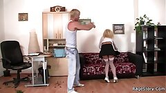 Rough sex with assignation blonde in characterless stockings